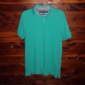 Tommy Hilfiger Teal Blue Polo Shirt Custom Fit